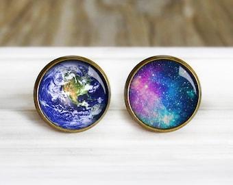 Galaxy Earth Space Earrings - Antique Bronze Earrings