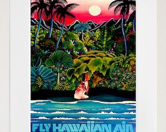 Hawaii Art Retro Poster Art Travel Poster Wall Art Print (ZT486)