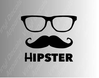 Hipster glasses and mustache die cut vinyl decal sticker
