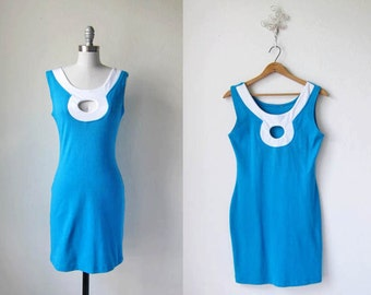 1990s vintage cyan sky blue stretch keyhole turquoise cocktail dress s m