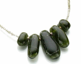 Deep Forest Green Fused Glass Beaded Necklace gl21