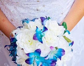 Bridal bouquet, blue galaxy dendrobium orchids, white roses, gardenias and blue viburnum, choose your orchid