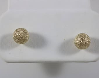 12k Yellow Gold Bling Sphere Ball Post Earrings 0.5g
