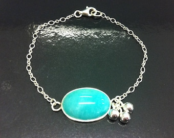 Bracelet in 925 sterling silver and amazonite cabochon set in 925 Silver