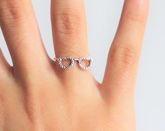 Eye Glasses Sterling Silver Ring