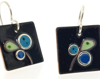 Blue and Green Abstract Glass Enamel Copper Cloisonne Earrings, Mid Century Modern Inspired Vintage Style