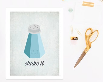 Shake It | digital kitchen art | funny kitchen sign | humorous art print | salt shaker art print | blue kitchen decor | funny wall art print