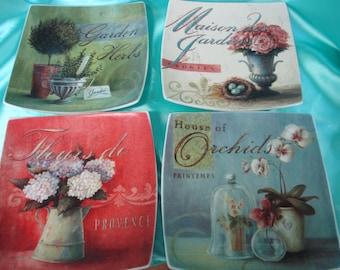 Assiettes carrées décoratives Vintage 4 utilisé maison cyprès
