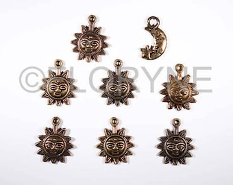 8 charms Charms Pendants, Sun and Crescent Moon metal Bronze