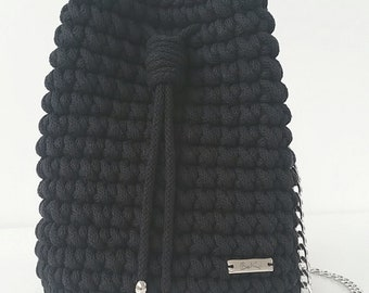 Black 100% handmade handbag made of cotton yarn! Suitable for every outfit!
