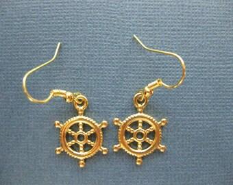 Ship Wheel Earrings - Gold Tone Ship Wheel Earrings - Dangle Earrings - Nautical Earrings - Nautical Jewelry -- E108
