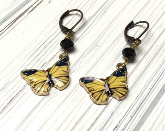 Enameled Butterfly Drop Earrings. Yellow. Black. Dangle Earrings. Lever Back. Handmade Jewelry.