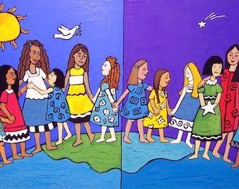 Celebrate Girls Original Art Goauche Painting  cover illustration for New Moon Magazine for Girls