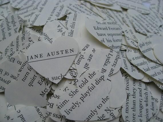 1000 Jane Austen Confetti. Emma, Sense & Sensibility, Pride And Prejudice.  Custom Orders Welcome.