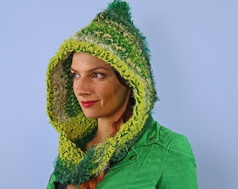 Green Hooded Scarf Mobius Skood Cowl Handmade Christmas Gift Ready to ship