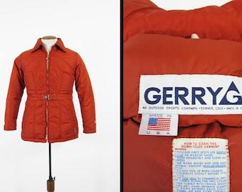 Vintage 70s Down Ski Jacket Gerry Winter Coat Made in USA Denver Colorado - Small