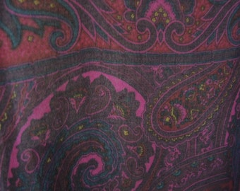 vintage 1970s scarf shawl sheer paisley fringed extra large 46 x 47 inches