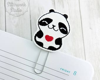 Ready To Ship! Panda Planner Clip - Panda Heart - Paperclip - Bookmark