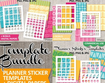 Planner Stickers Templates Sale Bundle, commercial use / DIY kit printable collage sticker sheet Erin Condren Vertical / Blank template