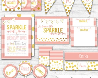 Pink and Gold Birthday, Pink and Gold First Birthday, Confetti Birthday Invitation, Pink and Gold Party Package, Party Printables