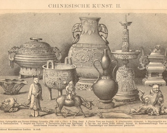 1903 Chinese Arts and Artifacts, Bronze Vessel, Nephrit Vase etc. Antique Engraving to Frame