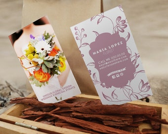 Florist gold double sided business card - Instant download