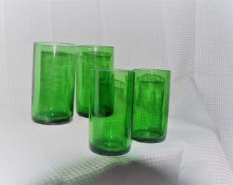 Recycled Green Beer Bottle Drinking Glasses