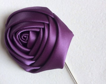 Flower Lapel Pin, Floral Satin Lapel Pin, Mens Lapel Pin, Boys Lapel Pin, Stick Pin, Satin Rosette, mens Lapel Flower