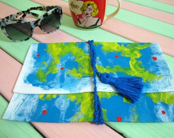 Tablet Cover Tablet Sleeve Cosmetic Bag Jewelry Travel Bag Painted Fabric Handmade Bag Makeup Bag Book Cover Book Wrap Gift Gift For Her