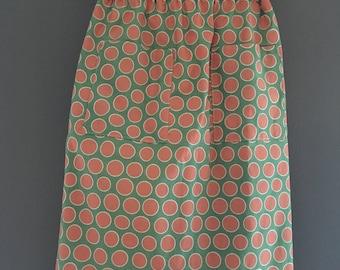 Polka Dot Pattern Green and Orange Skirt | Girls Size 5/6