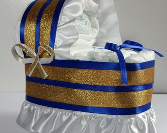 Royal Blue and Gold Trim - Diaper Bassinet Baby Shower Gift Table Decoration Centerpiece