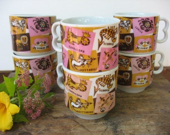 Retro Zodiac Mugs By Westwood, Set Of 6 Vintage Astrology Sign Coffee Cups, Mid Century Modern