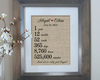 1 year together | 1st First Anniversary Burlap Print | Weeks Days Hours Minutes | First Wedding Anniversary Gift for Husband Wife