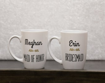 Personalized mug, custom mug, name and title coffee mug, bridesmaid gift, gift for her,  mug, flourish on coffee mug, coffee, maid of honor