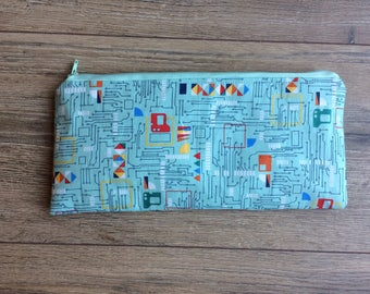 Circuit board pencil case, circuit print, circuit gift, engineer gift, programmer gift, geek gift, nerd gift, zip bag, teacher gift, student