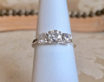 Genuine 1.07 Total Carat Weight VVS1 Round Multi-Stone Moissanite Sterling Silver Ring Size 6