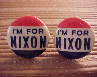 Cuff Links I'm For Nixon Vintage Political Pinback Button - Free Shipping to USA
