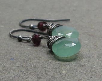 Mint Green Chalcedony Earrings Pink Tourmaline Oxidized Sterling Silver Earrings Pink and Green