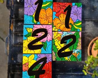 Slate Tropical Tiles address numbers 6 x 6 tiles