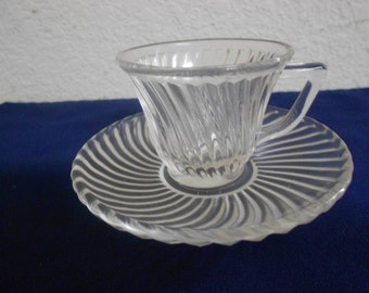Beautiful Small Cut Glass Cup and Saucer / Marks / Heart with F in the Middle