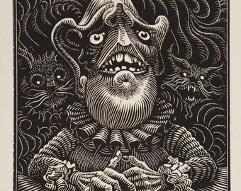 "Distressed Man - 6x8"" Woodcut - Thomas Shahan"