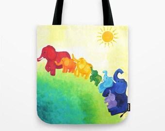 Elaphant Rainbow,  Tote Bag,  16x16 inch art print tote