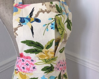 Colorful Bird and Floral Full Apron