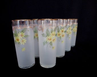 Libbey Tumblers with Daisies and Gold Trim, Vintage Springtime Tumblers by Libbey Set of 8, Libbey Frosted Tumblers w Flowers and Gold Trim