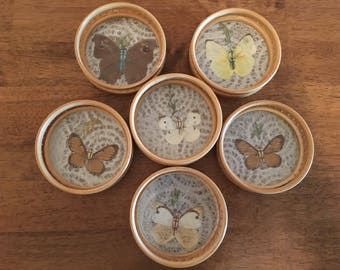 Vintage bamboo pressed butterfly coasters