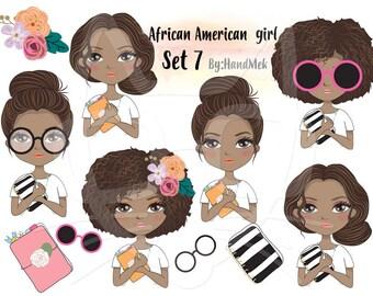 African American girl Clip art Black Girl sticker set 7 , instant download PNG file - 300 dpi