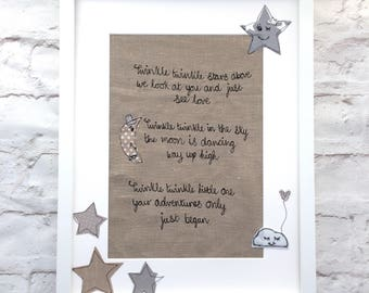 Twinkle star freemotion embroidered poem