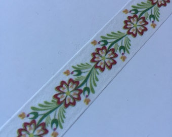 10m - Autumn Fall Flower & Leaves - Green Brown Color - Washi Tape - Japanese Tape - Smash Book Scrapbooking Supplies