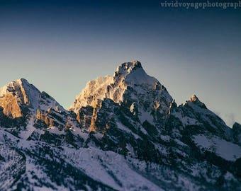 Teton Photograph, Mountain Landscape, Winter Photography, Grand Teton, Western Decor, Art For Men, Rustic Decor, Snow, Wyoming Photography