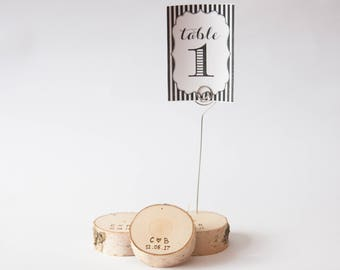 10 personalized rustic wedding table number holder with wire, place card holder, birch wedding table decor,  wedding centerpiece